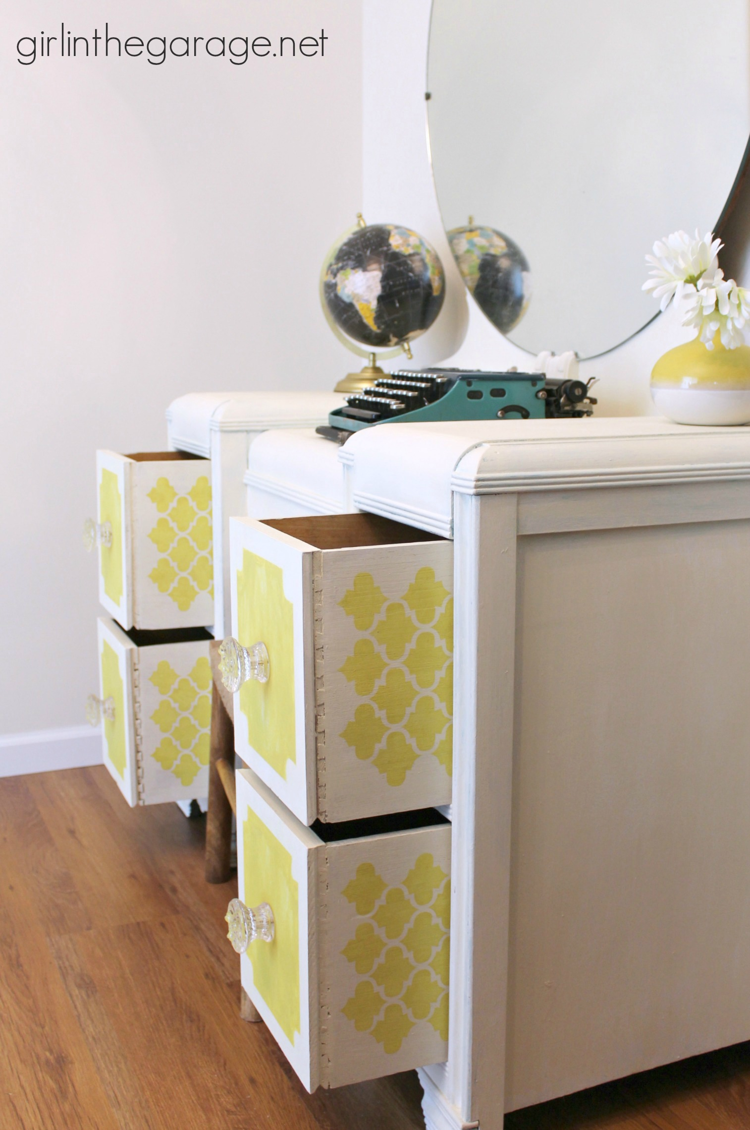 Bright White And Yellow Waterfall Vanity Themed Furniture Makeover Day