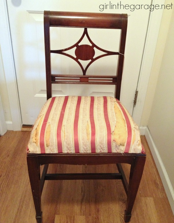Before.   DIY: Vintage Chair Makeover with Chalk Paint.  girlinthegarage.net