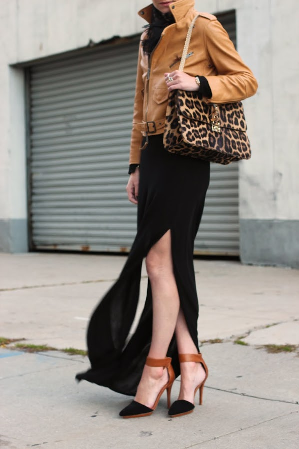 Atlantic-Pacific maxi skirt with leather jacket and leopard bag