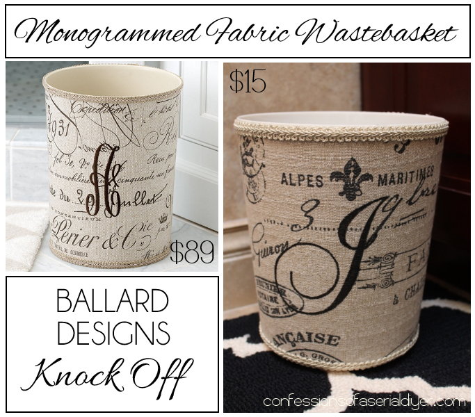 Monogrammed Fabric Wastebasket by Confessions of a Serial Do-it-Yourselfer