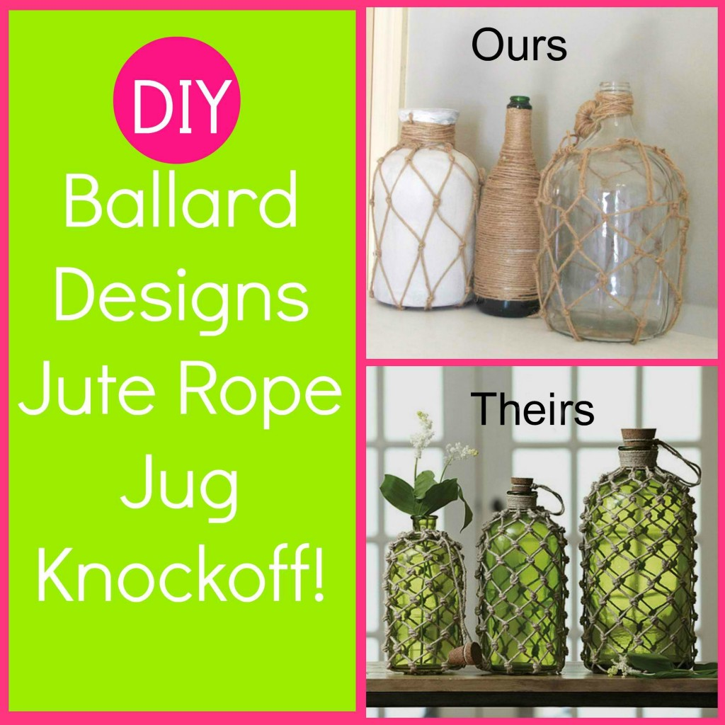 DIY Ballard Designs Knotted Jute Rope Jug by DIO Home Improvements