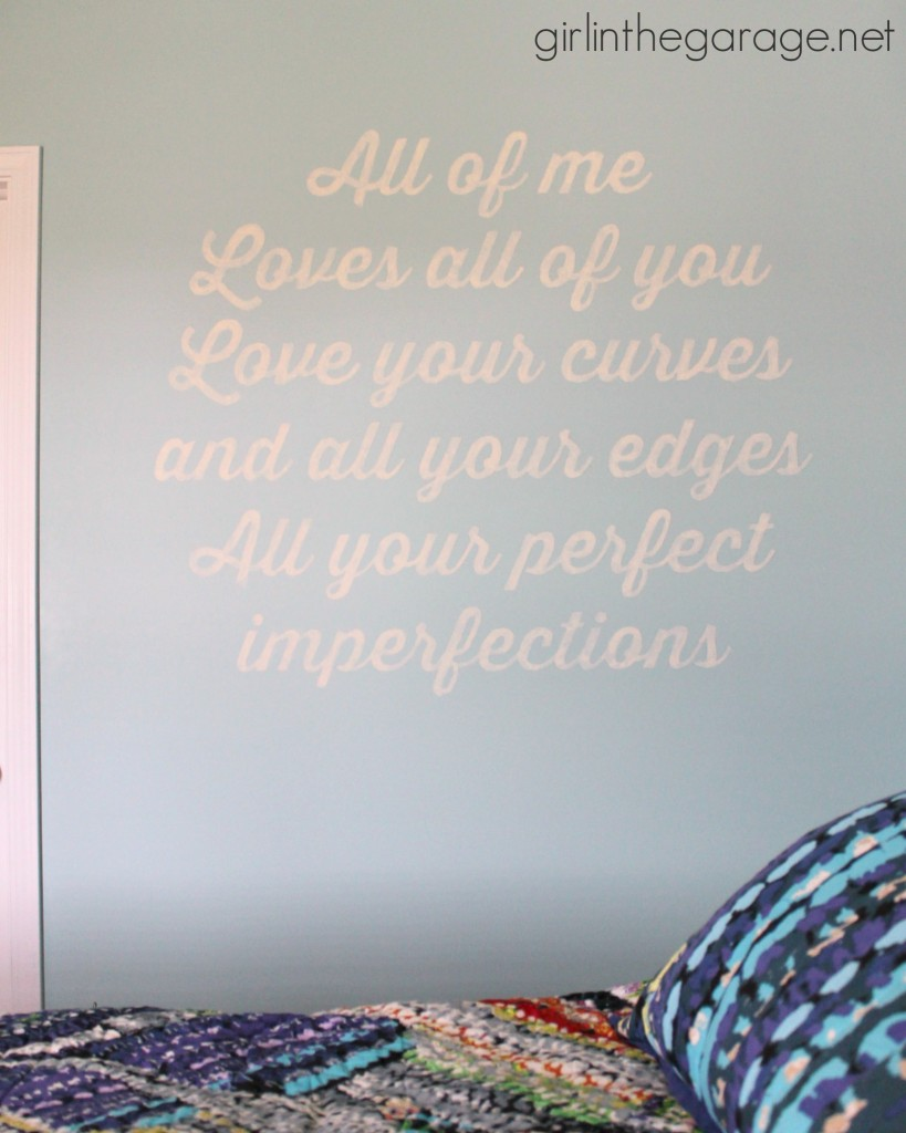 If there's a song that has special meaning to you, turn the lyrics into art for your wall!  girlinthegarage.net