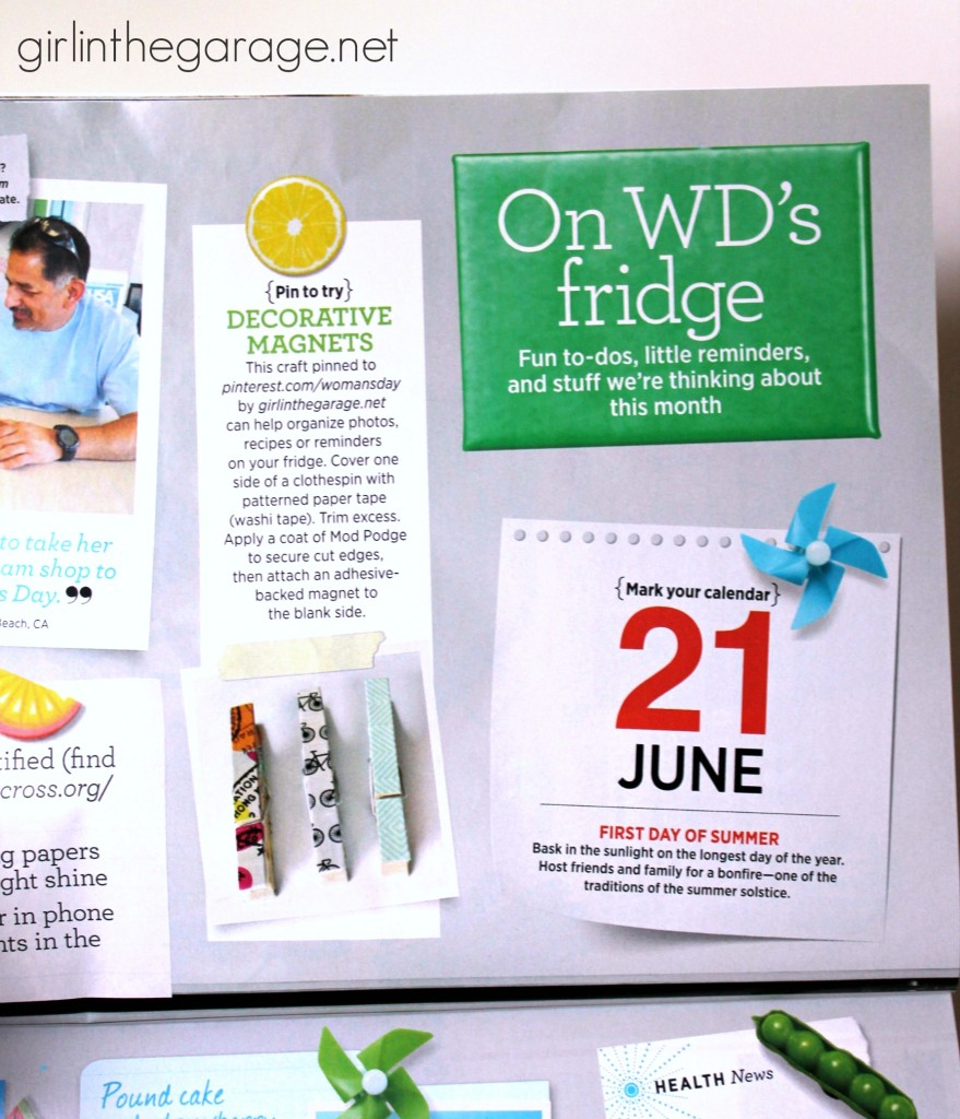 One of my projects is featured in the June 2014 issue of Woman's Day magazine!  girlinthegarage.net