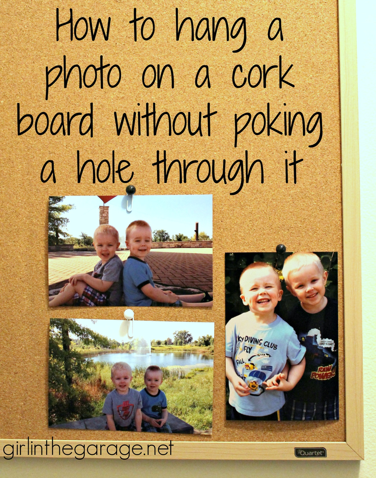 how to hang a photo on a cork board without poking a hole