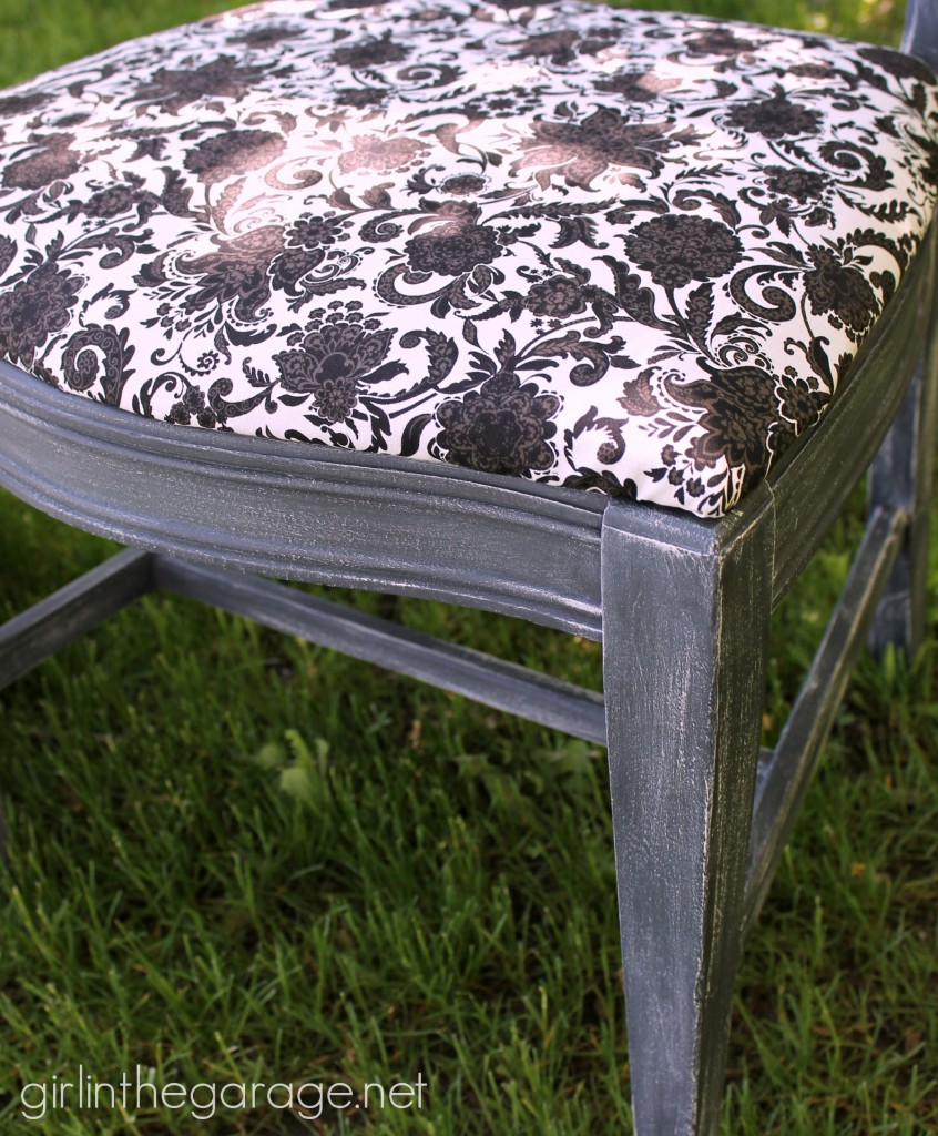 Dry brushed chair makeover - How to dry brush when painting, and see 8 flower themed furniture makeovers!   girlinthegarage.net