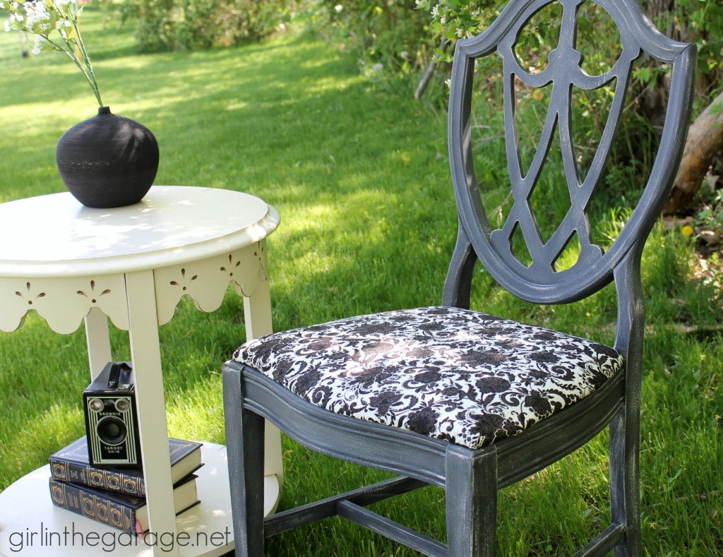 Dry brushed chair makeover - How to dry brush when painting - DIY furniture makeover ideas by Girl in the Garage