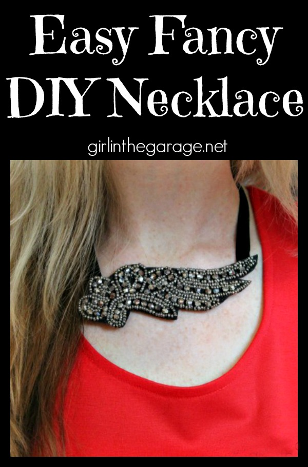 Easy tutorial for how to make a fancy DIY necklace - it only takes a few minutes!  Girl in the Garage for The Happier Homemaker.
