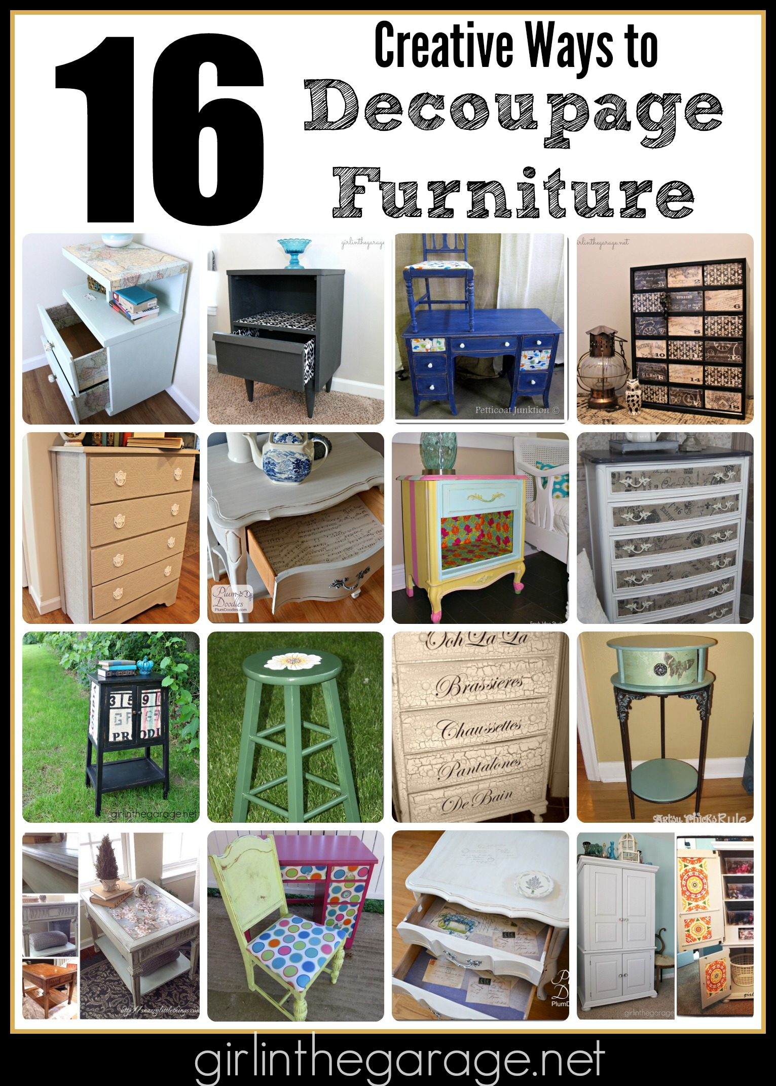 16 Creative Ways To Decoupage Furniture Girl In The Garage 174