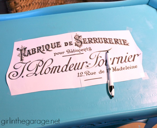Turquoise French Script Table Makeover - girlinthegarage.net