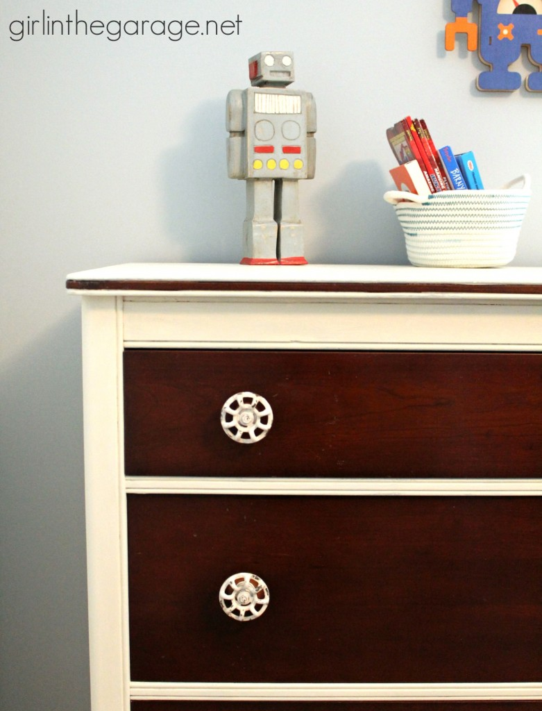 The Dresser Makeover That I'm Keeping:  A mini makeover with some Chalk Paint and new pulls for my son's bedroom.  girlinthegarage.net