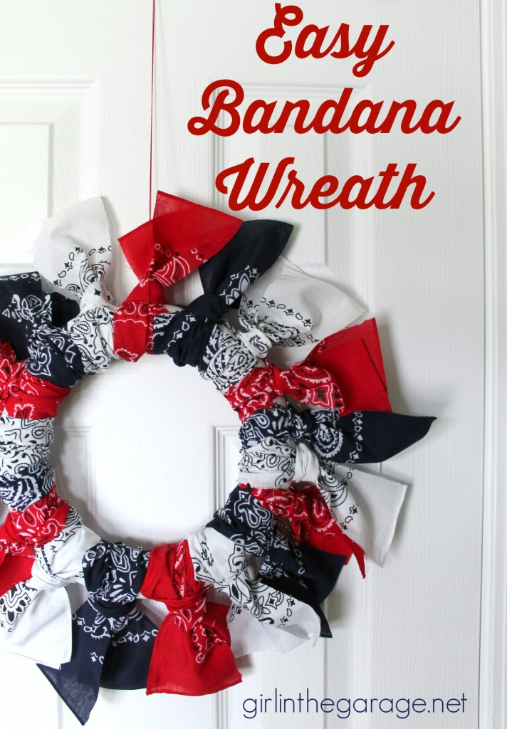Easy DIY Bandana Wreath - It only takes about 30 minutes! By Girl in the Garage