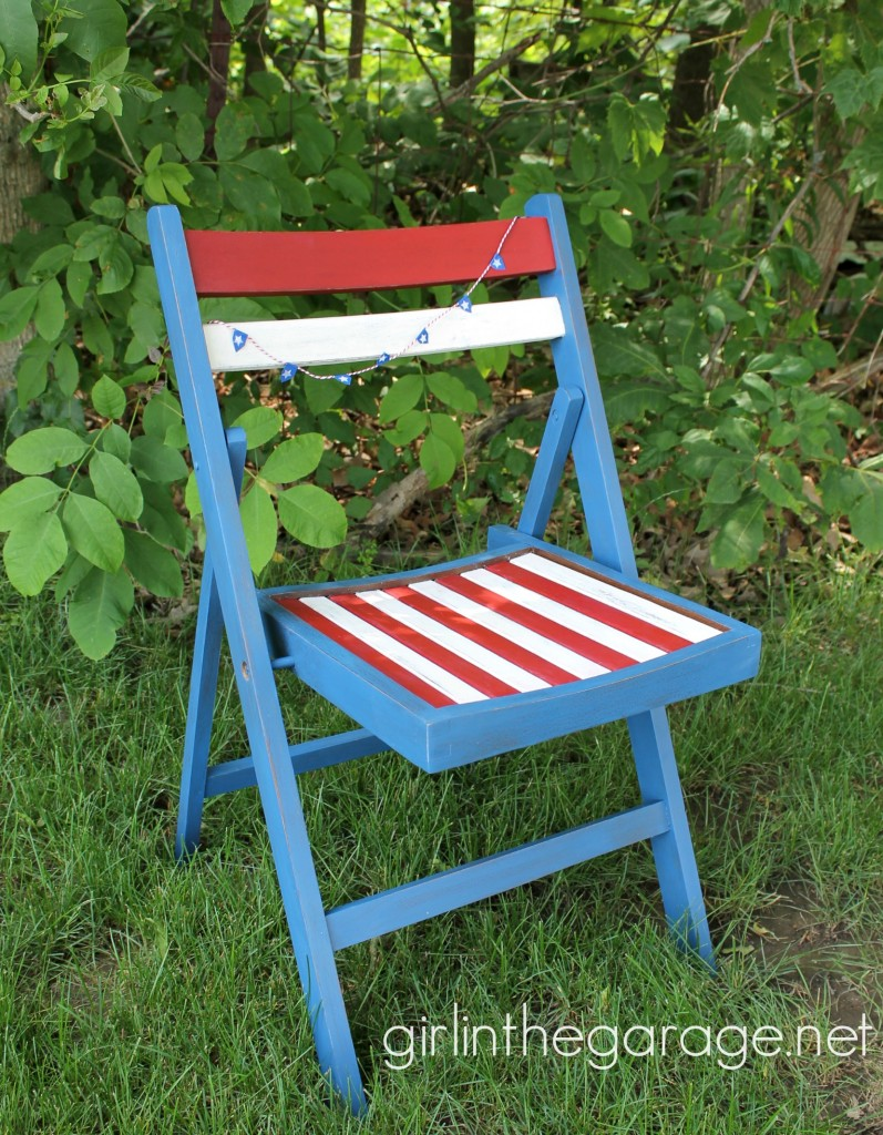Red, White, and Blue Patriotic Chair Makeover - girlinthegarage.net