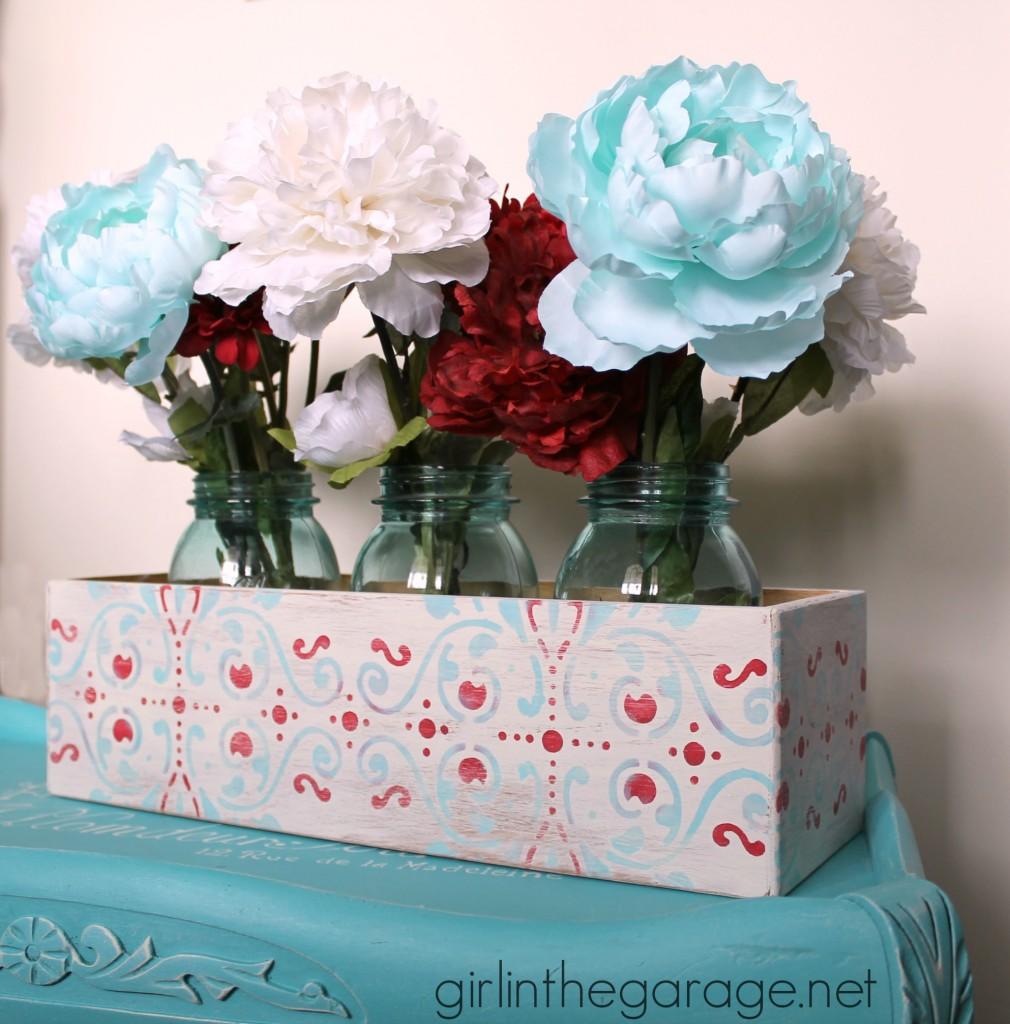 Repurposed CD Holder to Flower Box Centerpiece.  girlinthegarage.net