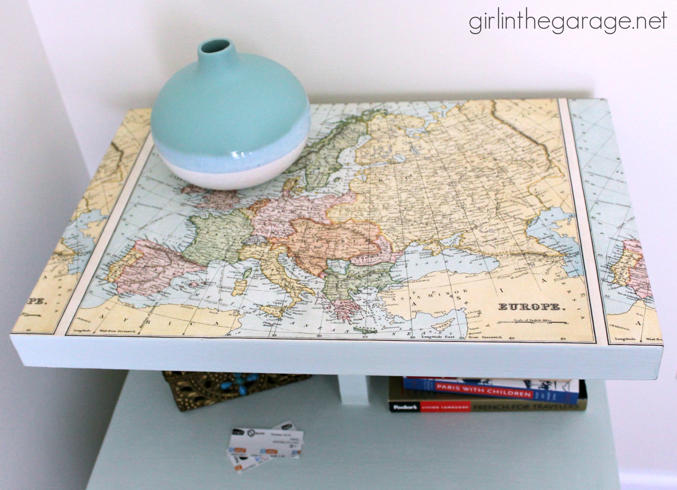 Decoupaged Map Table Themed Furniture Makeover Day Girl In The
