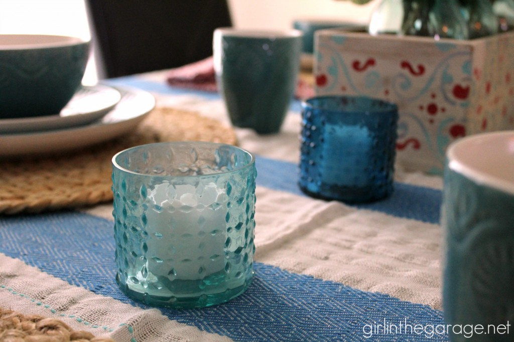 Inspiration for creating a beachy/bohemian tablescape for summer parties, an upcycled flower box centerpiece, and a dinnerware giveaway!  girlinthegarage.net