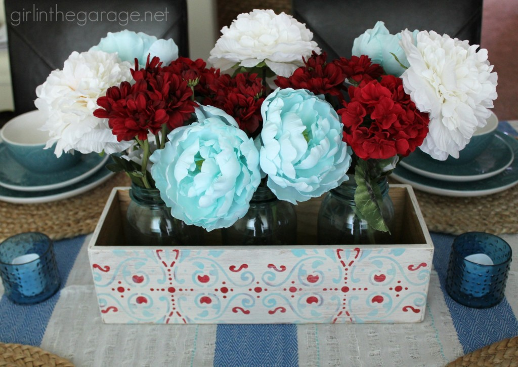 Repurposed CD Holder to Flower Box Centerpiece.  girlinthegarage.net