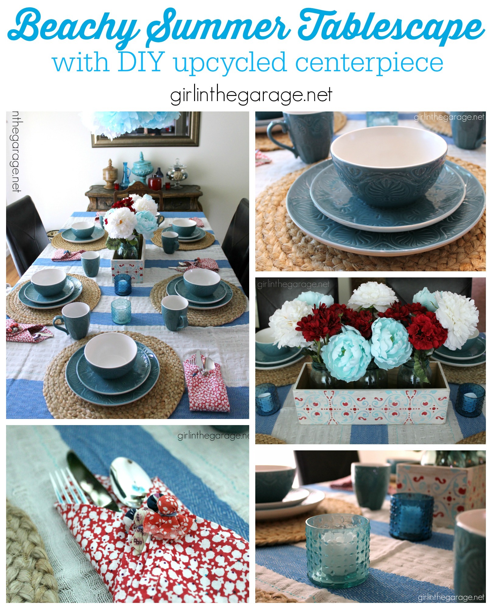 Summer Beach Tablescape And A Summer Tablescape Party: Beach-Inspired Summer Tablescape With An Upcycled