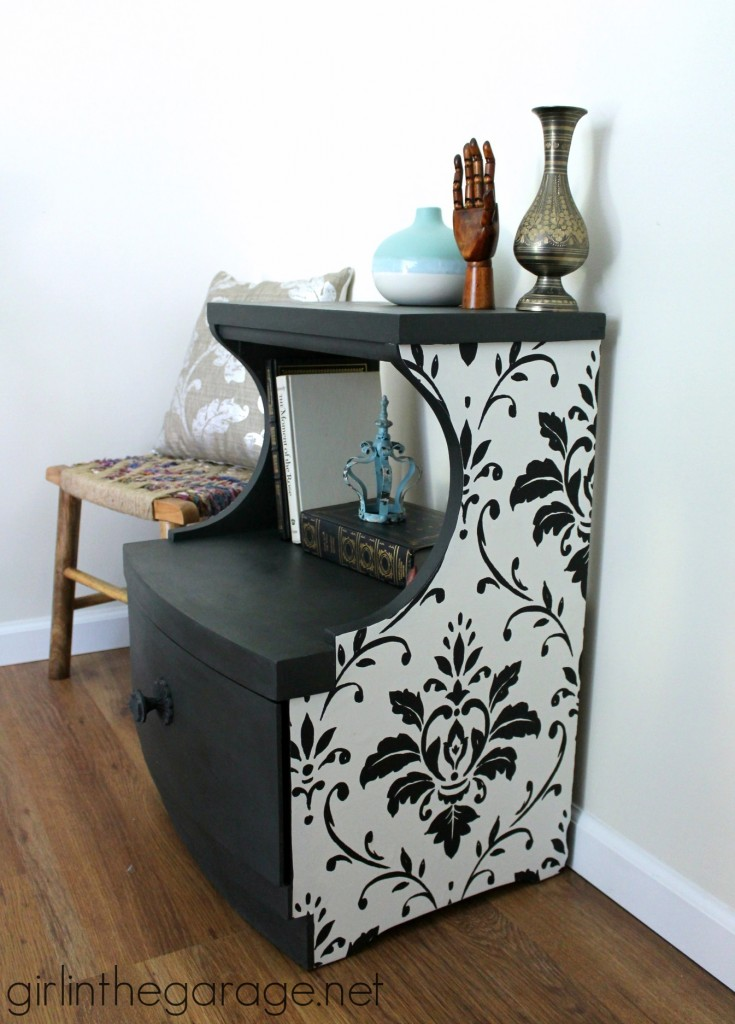 Beautiful decoupage table makeover with wallpaper and Chalk Paint.  girlinthegarage.net