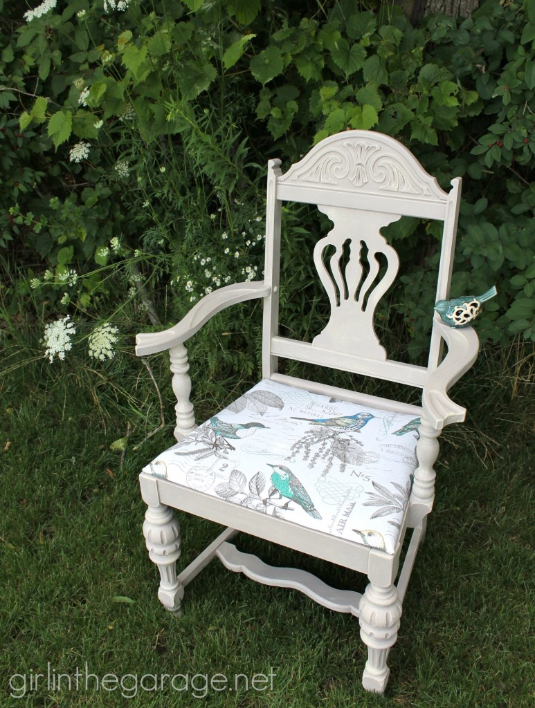 "A vintage chair makeover: boring brown to beachy birds. Themed Furniture Makeover Day- see 9 ""numbers"" themed furniture makeovers.  girlinthegarage.net"