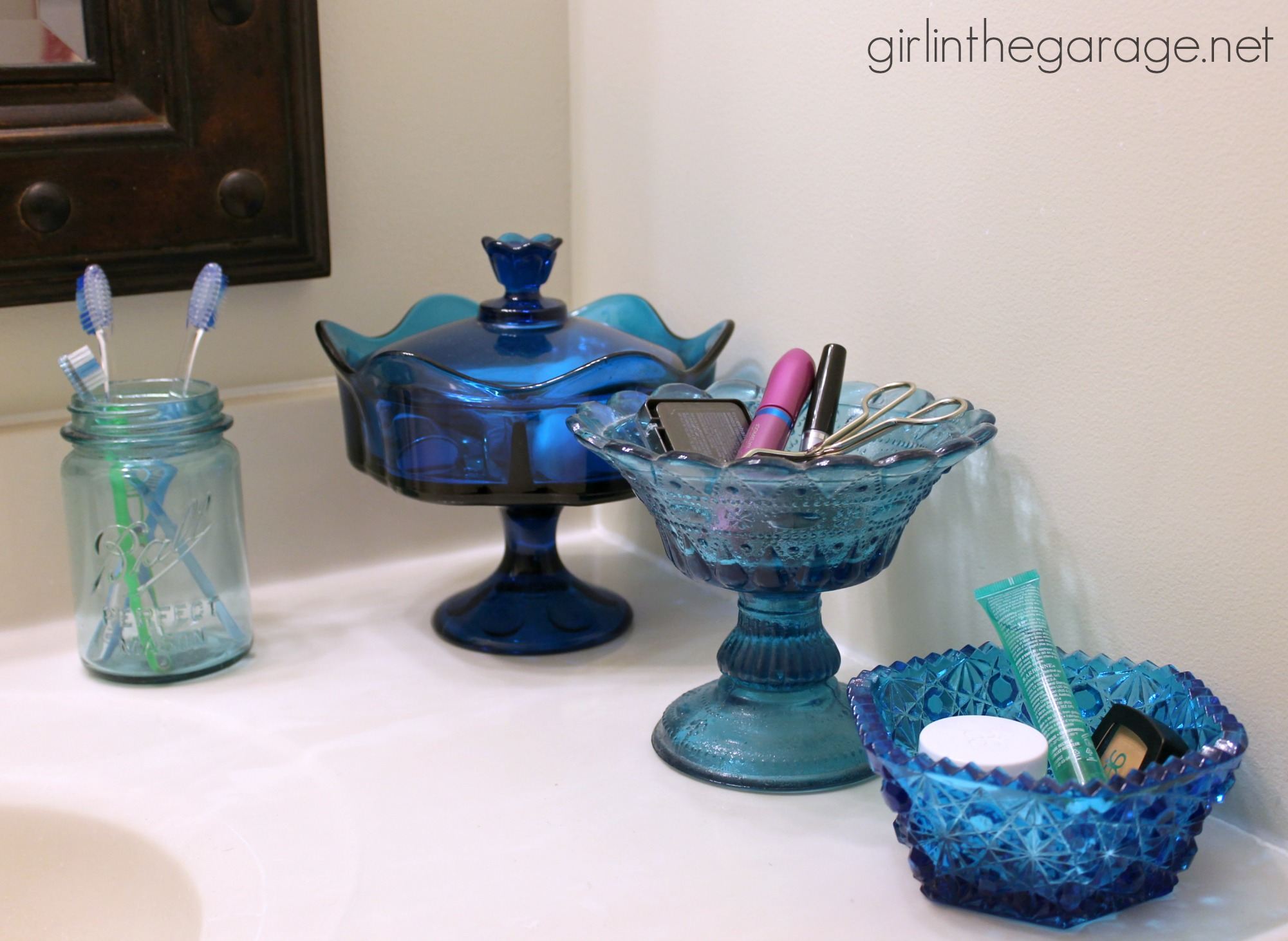 Turquoise And Purple Bathroom. Vintage Turquoise Glass Used For Storage And Organization In The Bathroom Girlinthegarage Net