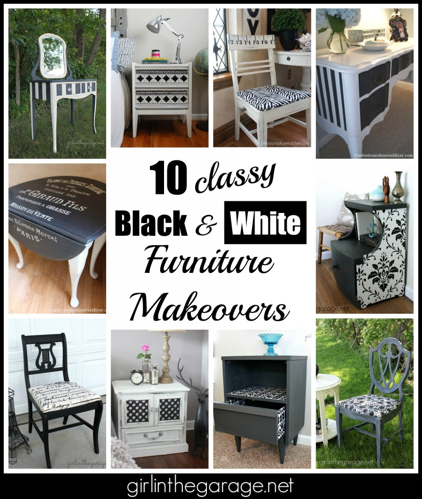10 classy black and white furniture makeovers from talented DIY bloggers.  Compiled by Girl in the Garage.