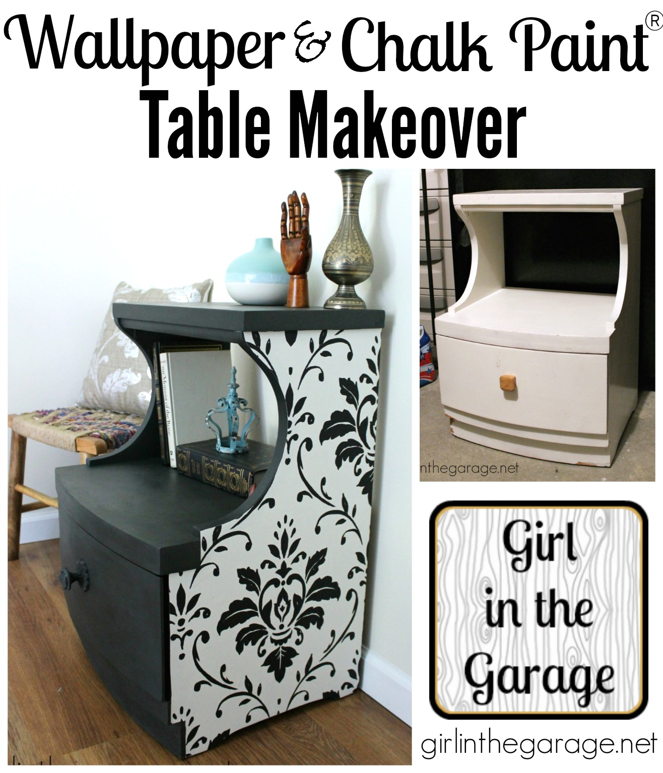 Wallpaper And Chalk Paint Table Makeover