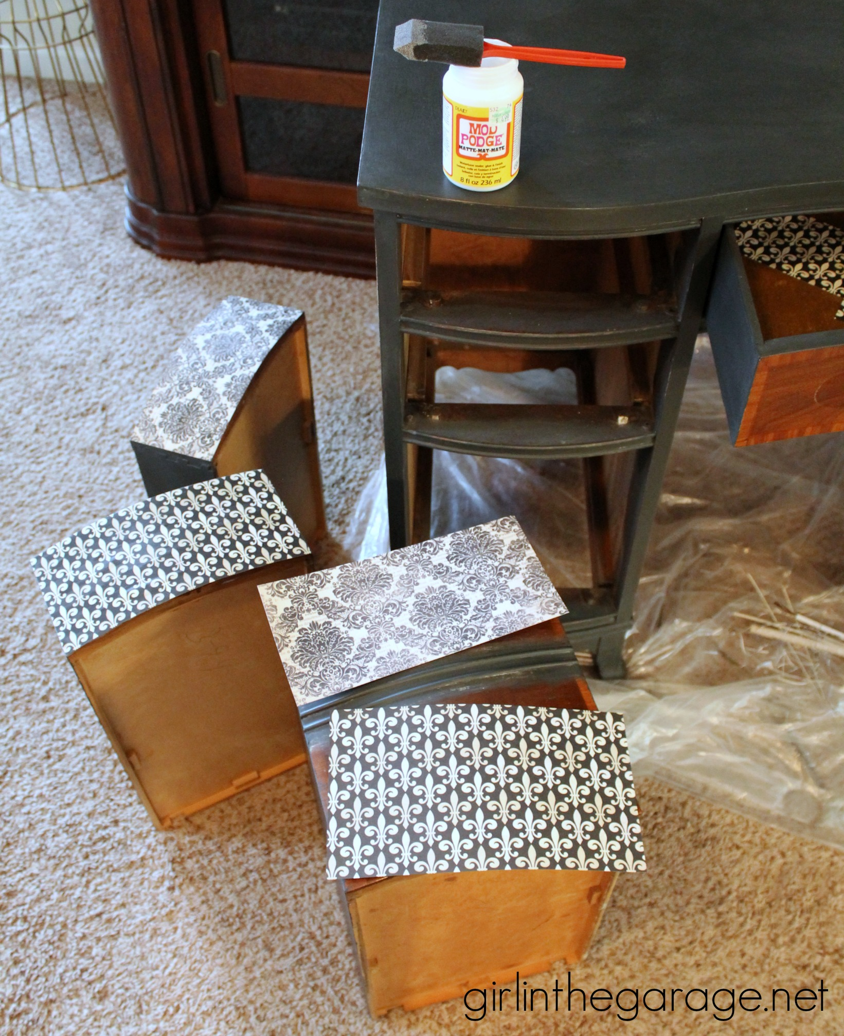 French Decoupage Desk {Themed Furniture Makeover Day} | Girl in the ...
