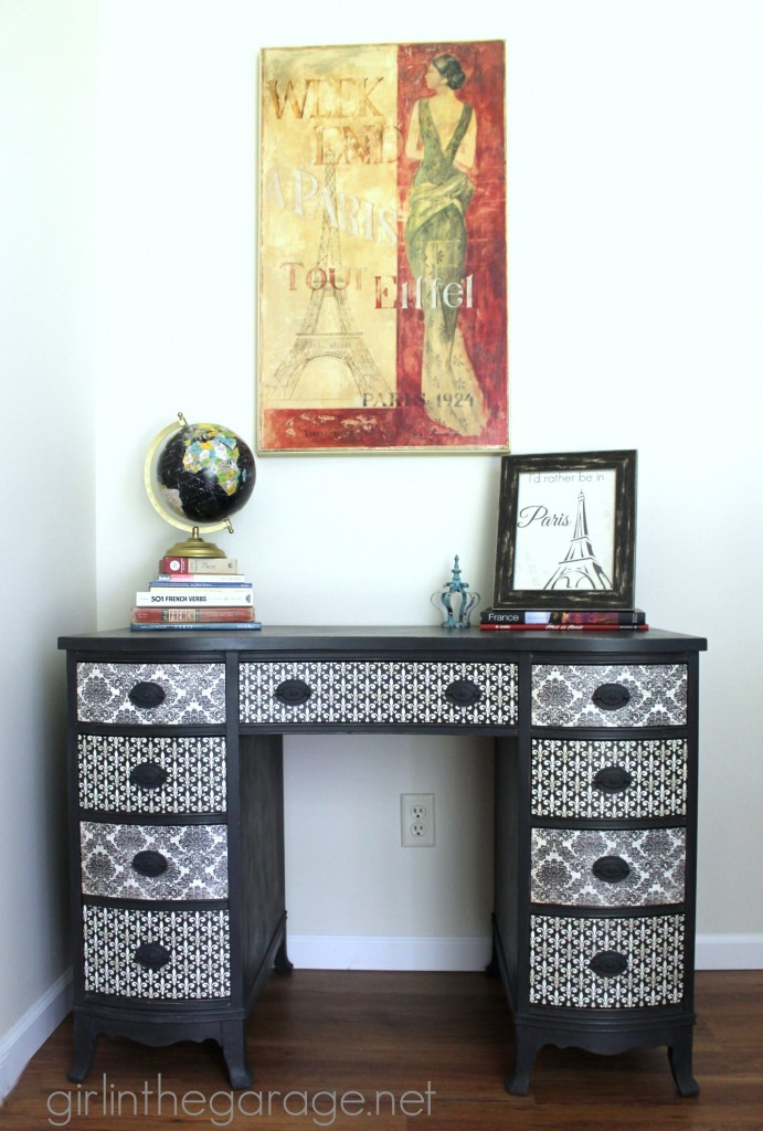 Themed Furniture Makeover Day {decoupage}.  See how I transformed a vintage desk with Chalk Paint, pretty paper, and Mod Podge!  girlinthegarage.net