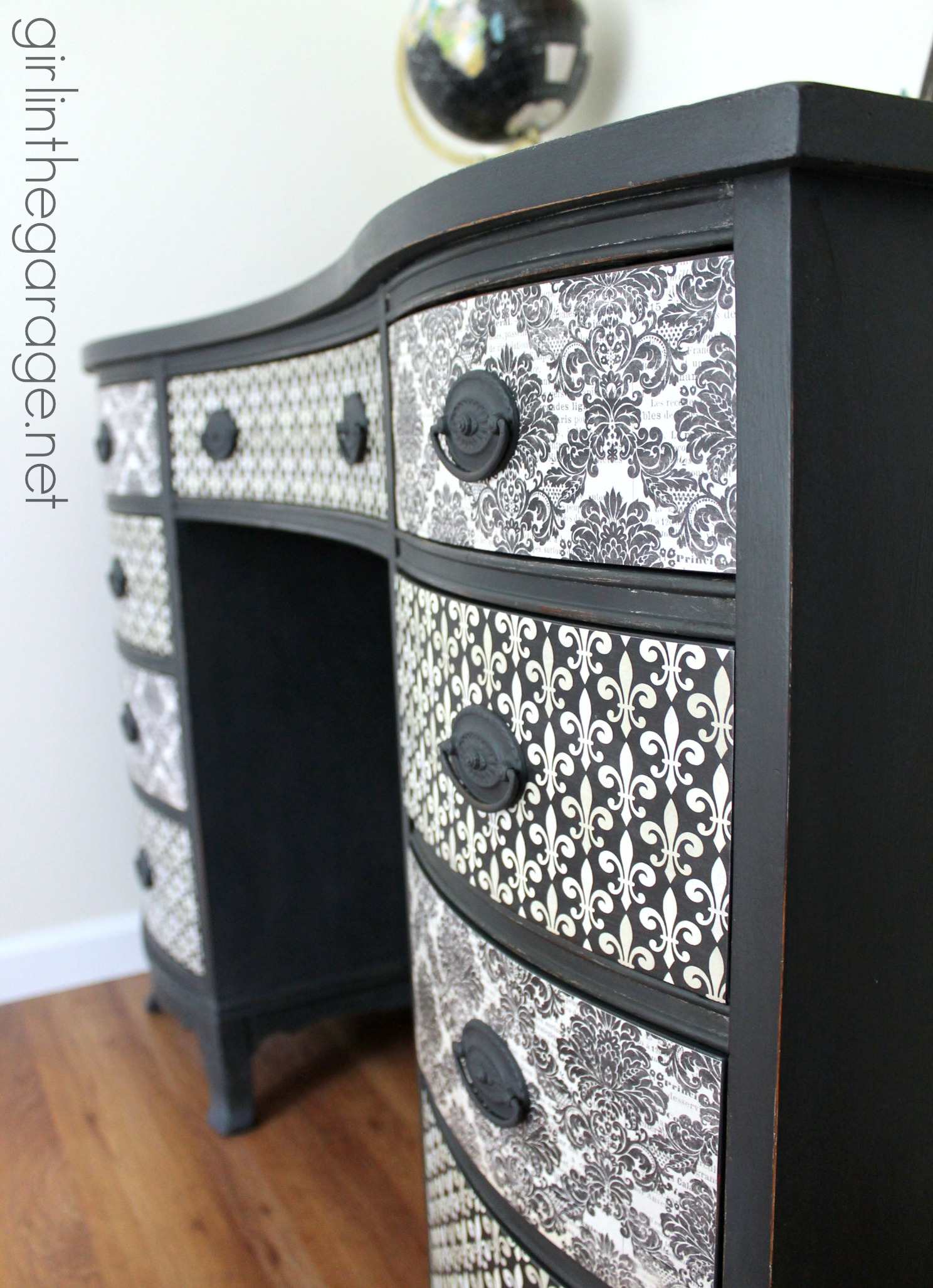 French Decoupage Desk Makeover - Girl in the Garage