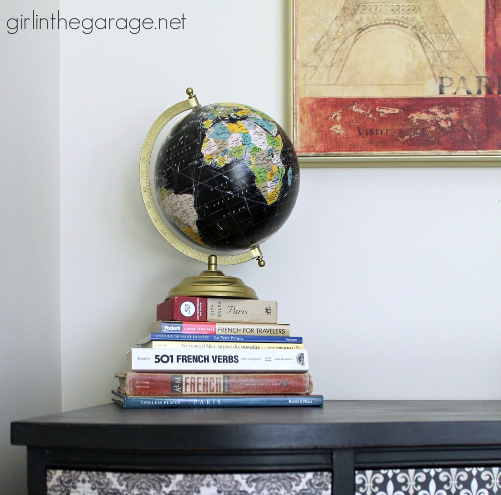 Vintage decoupage desk makeover - Girl in the Garage
