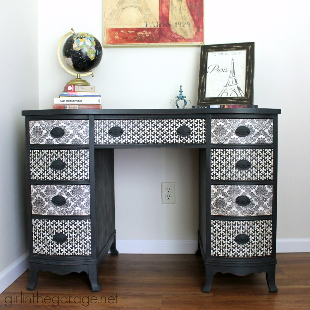 Decoupage desk makeover with a French theme. girlinthegarage.net
