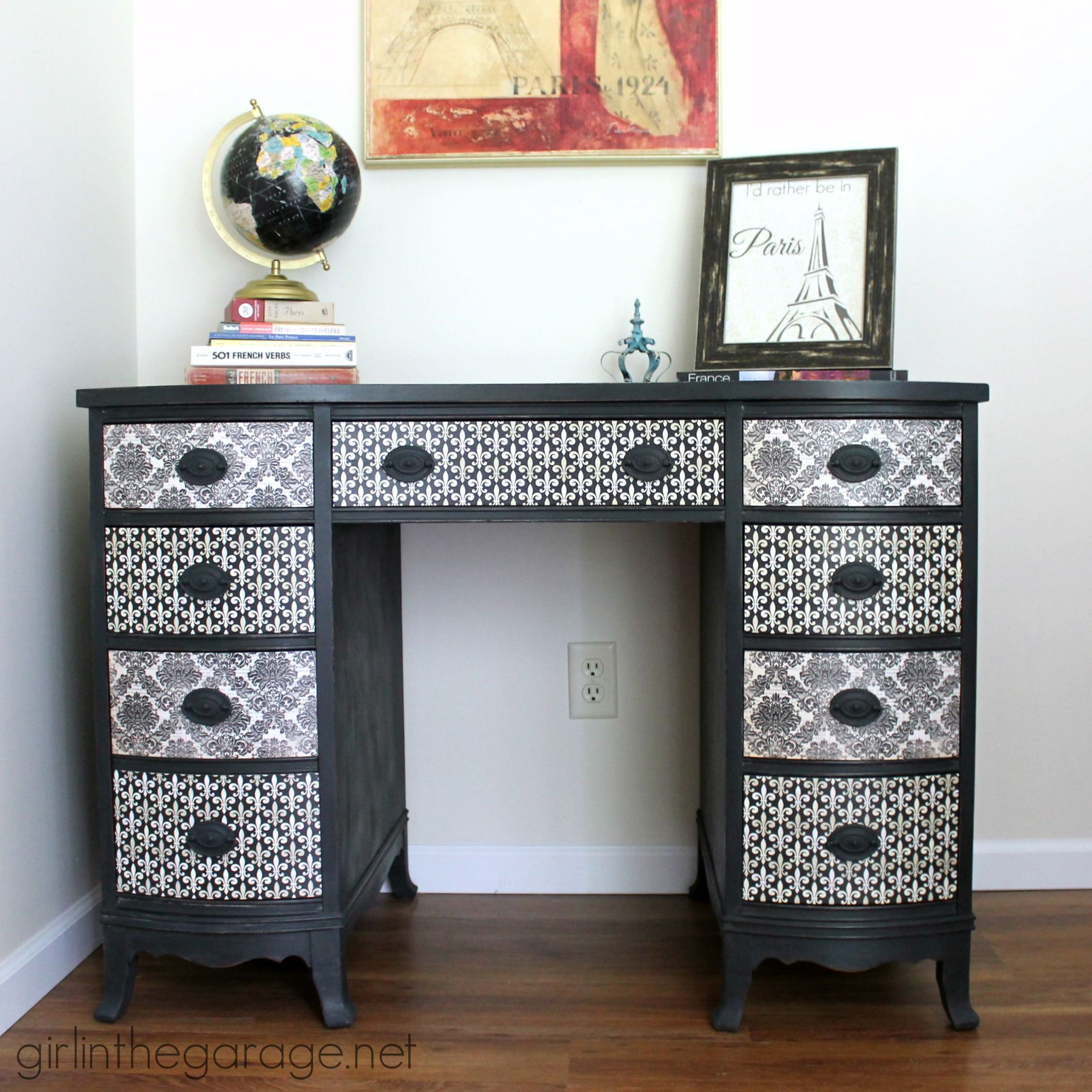 French Decoupage Desk Themed Furniture Makeover Day Girl In The