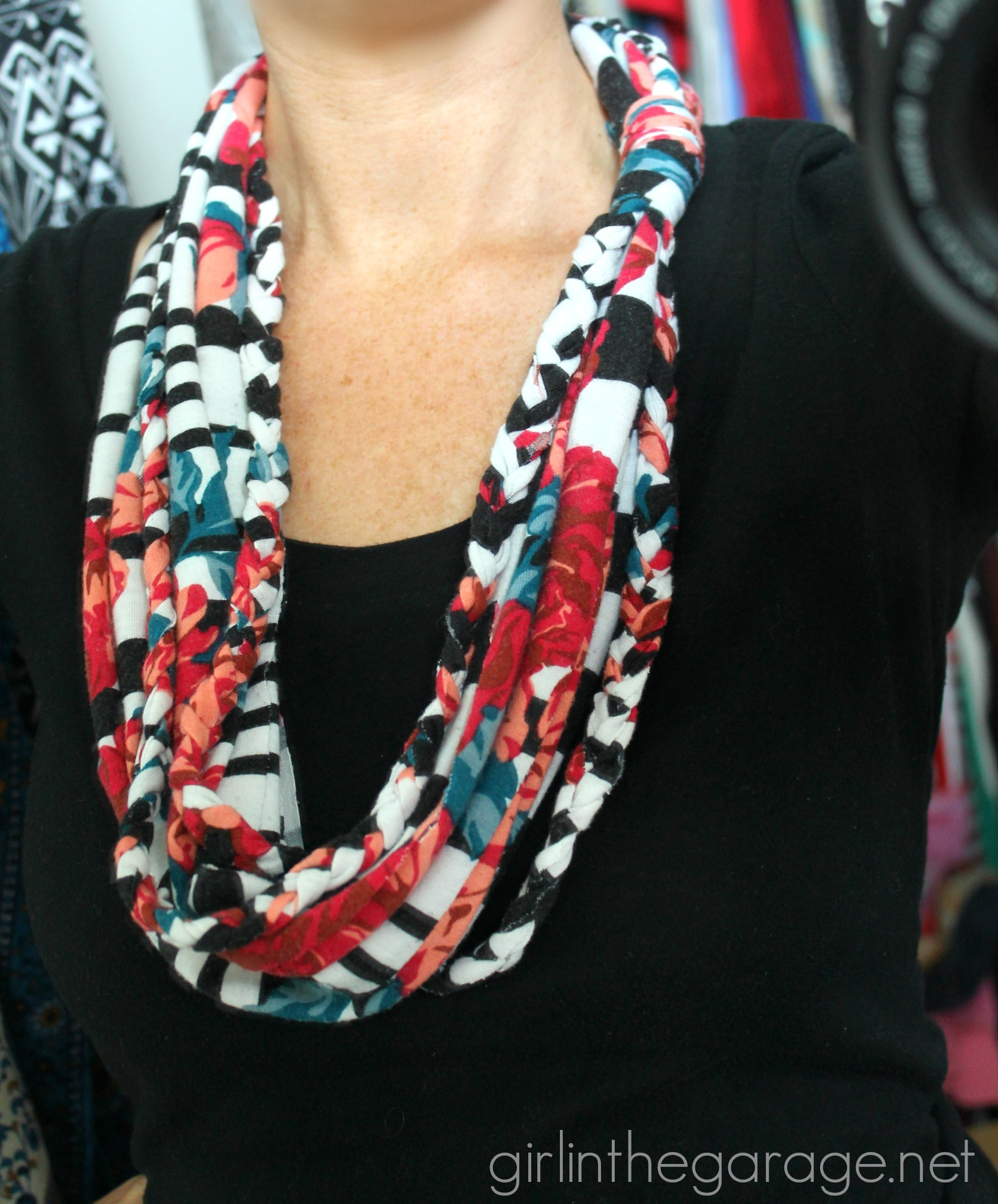 Repurposed maxi dress to DIY infinity scarf - Girl in the Garage