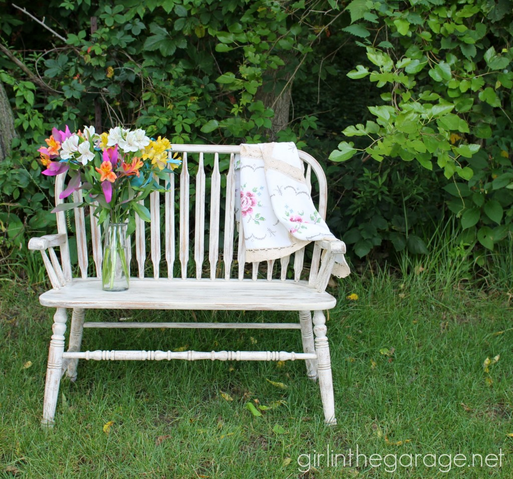 Painted weathered bench makeover - Girl in the Garage
