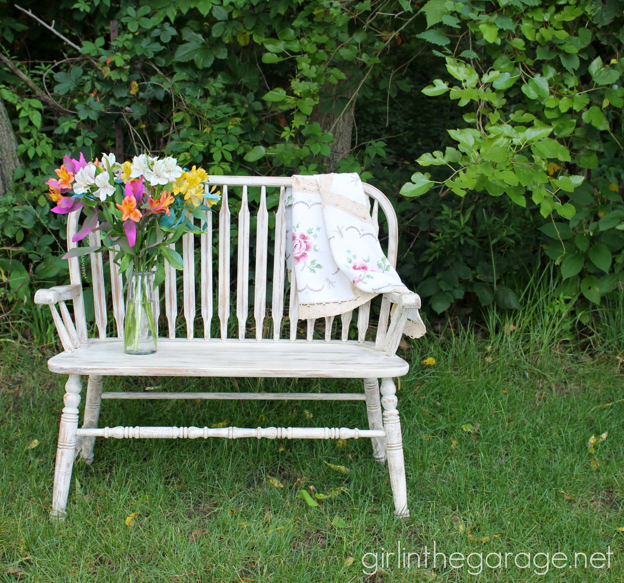 Distressed Weathered Bench Makeover with Chalk Paint - Girl in the Garage