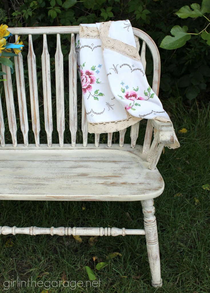 How to paint a weathered bench makeover with Chalk Paint - DIY furniture makeover ideas by Girl in the Garage