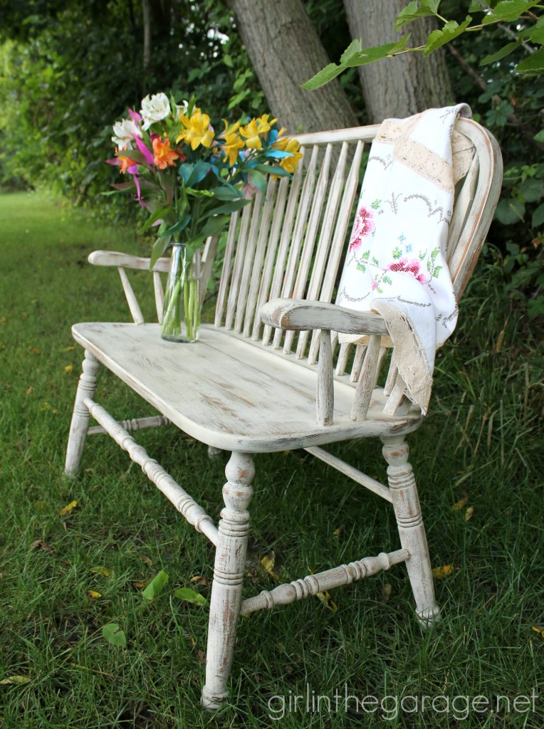 Weathered wood bench makeover with Annie Sloan Chalk Paint in Old Ochre.  girlinthegarage.net