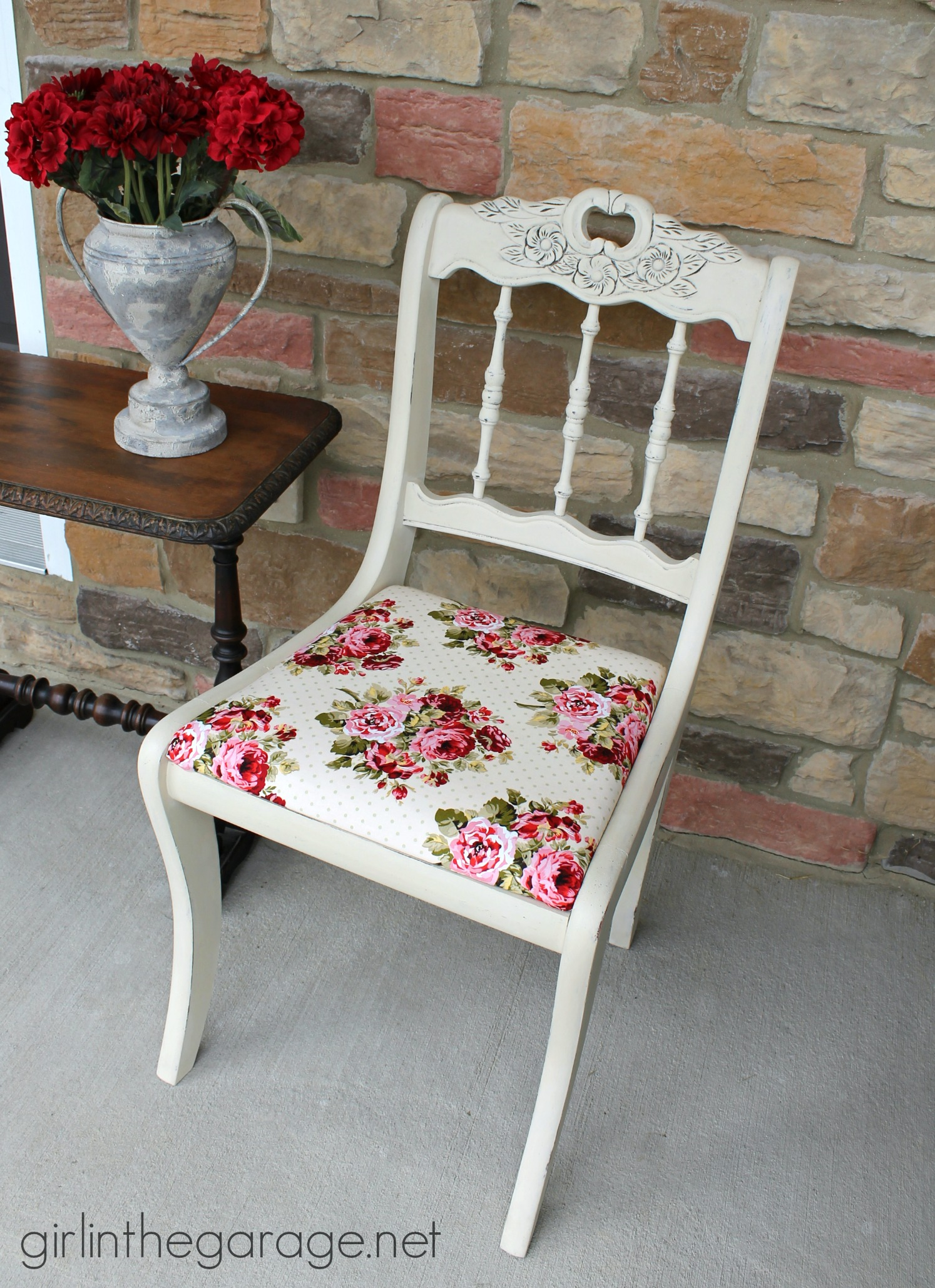 shabby chic chair makeover girl in the garage. Black Bedroom Furniture Sets. Home Design Ideas