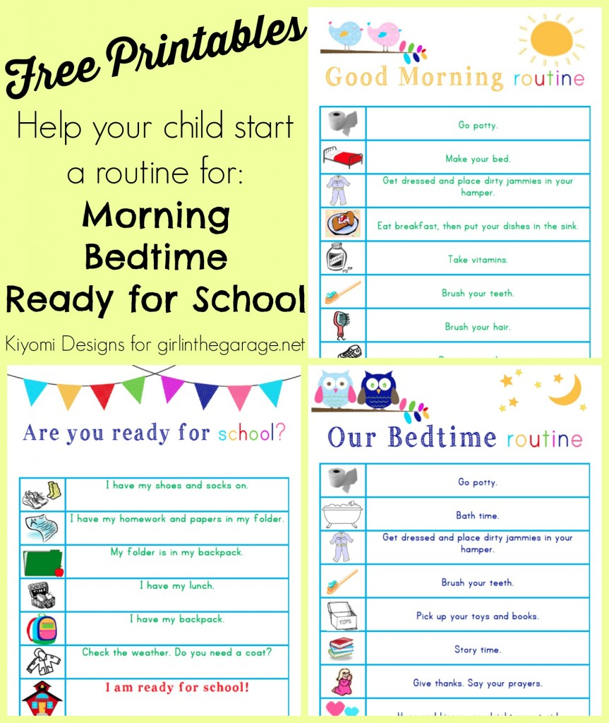 Kids' Morning, Bedtime, and Ready-for-School Free Printables