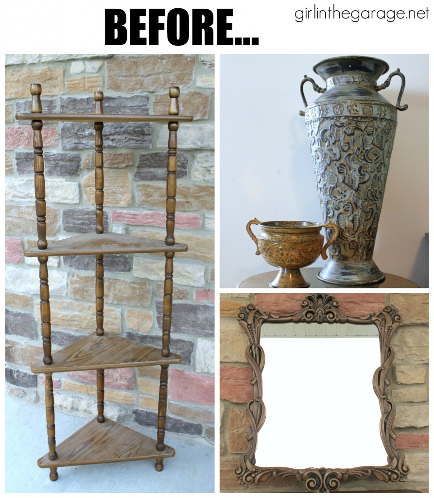 Before:  Shades of Blue Chalk Paint {Aubusson and Provence} - girlinthegarage.net