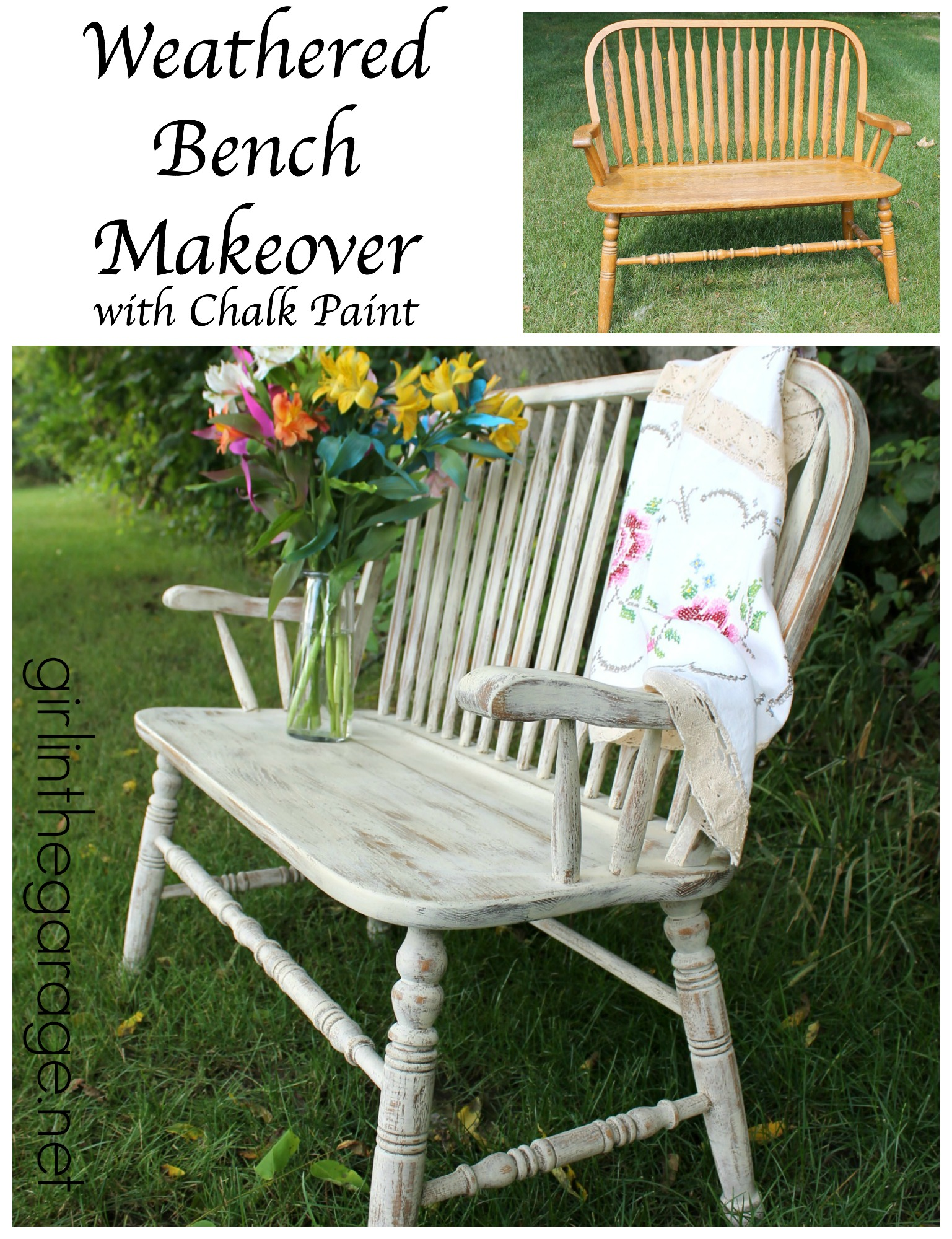 beautiful weathered wood bench makeover with annie sloan chalk paint in old ochre girlinthegarage bench painted chalk paint