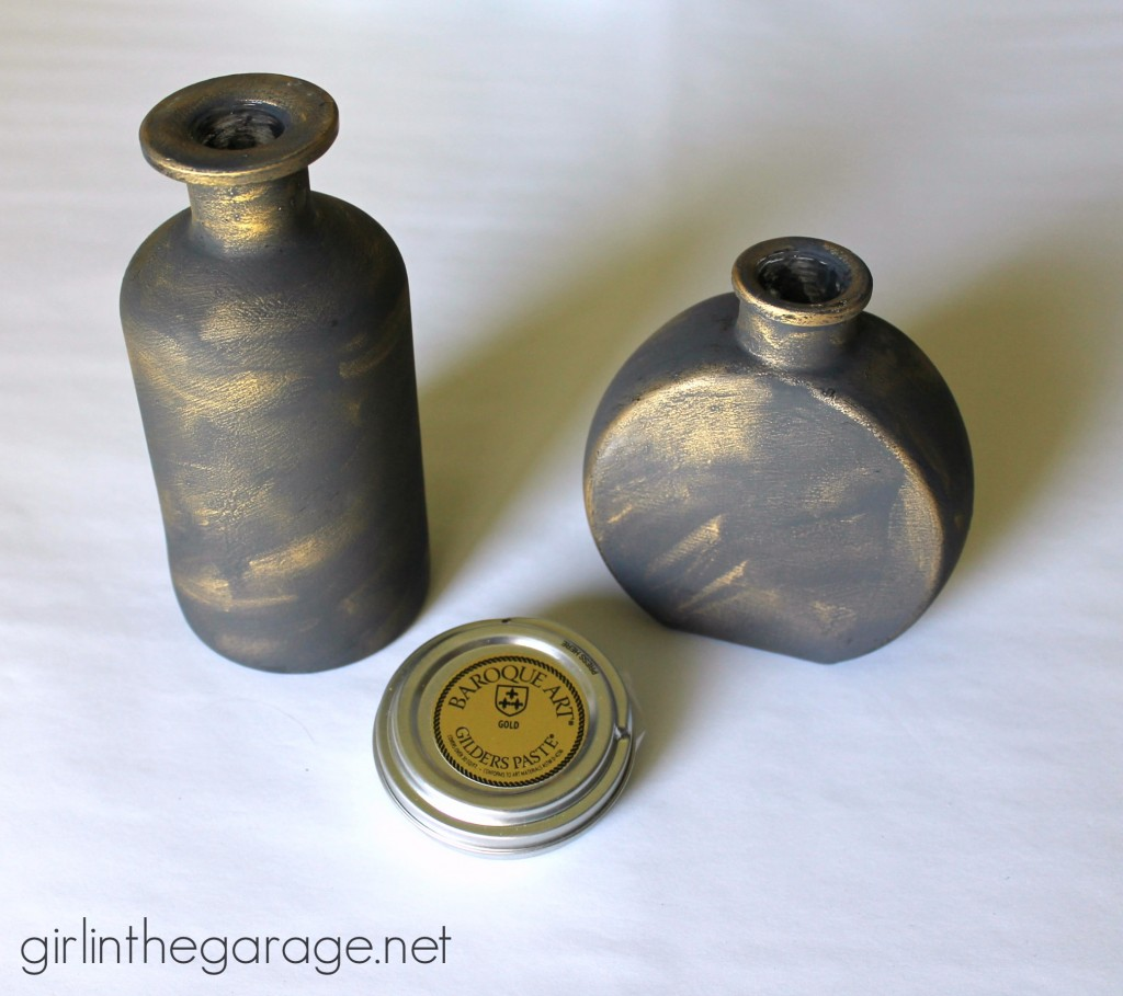 How to make embellished glass bottles with vintage French flair - Golding gilding paste - Girl in the Garage