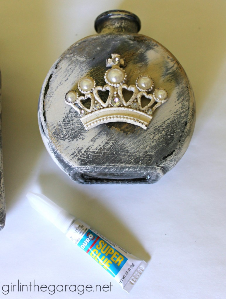 How to make embellished glass bottles with vintage French flair - Girl in the Garage