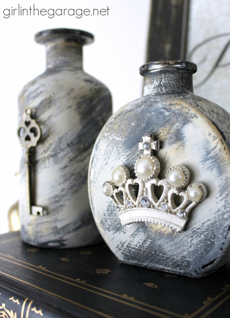 How to paint and embellish glass bottles with vintage French flair - Girl in the Garage