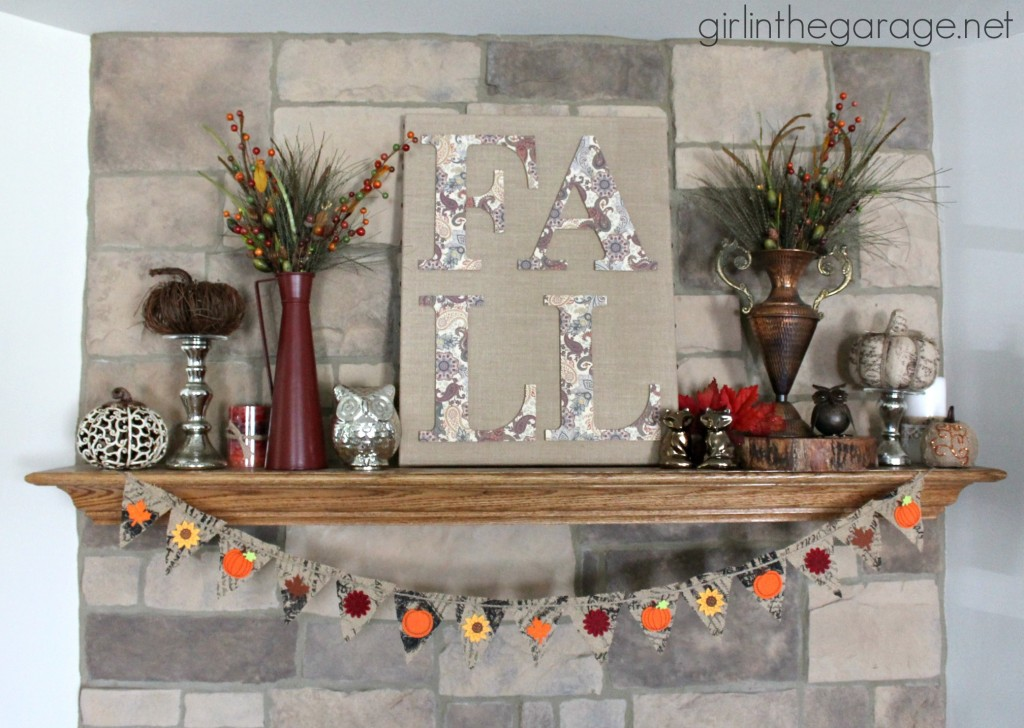 DIY Fall Burlap Art and Mantel {Fall Home Decor Tour}