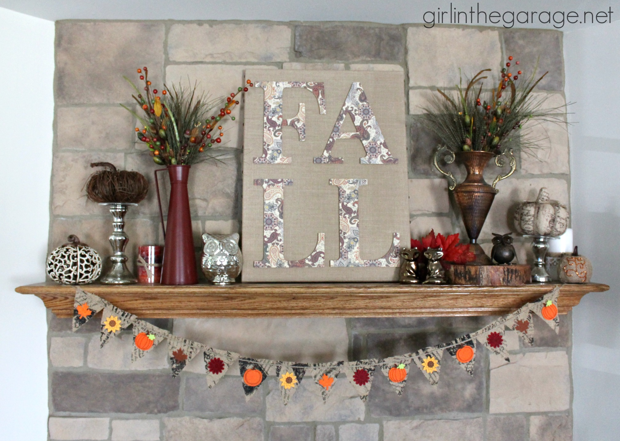 Fall burlap art and mantel fall home decor tour girl - How to decorate my home ...