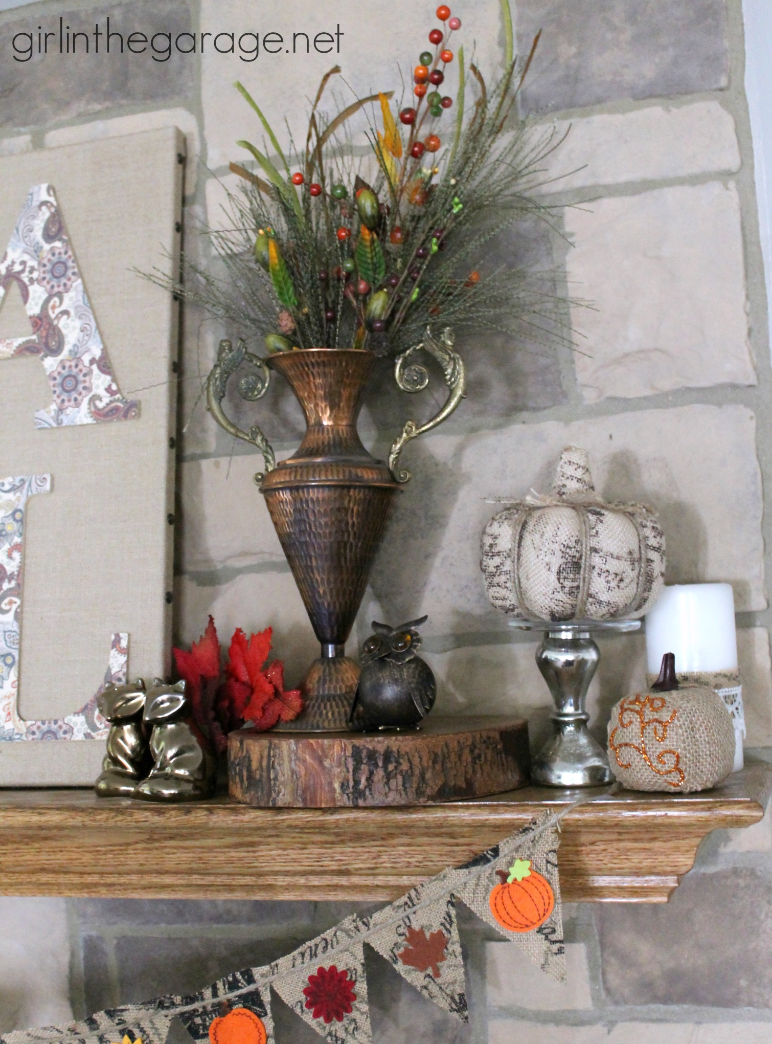 Fall burlap art and mantel fall home decor tour girl for Fall home decor