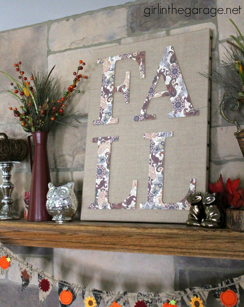 DIY Fall Burlap Art with Decoupage Letters and Decorated Mantel {Fall Home Decor Tour}