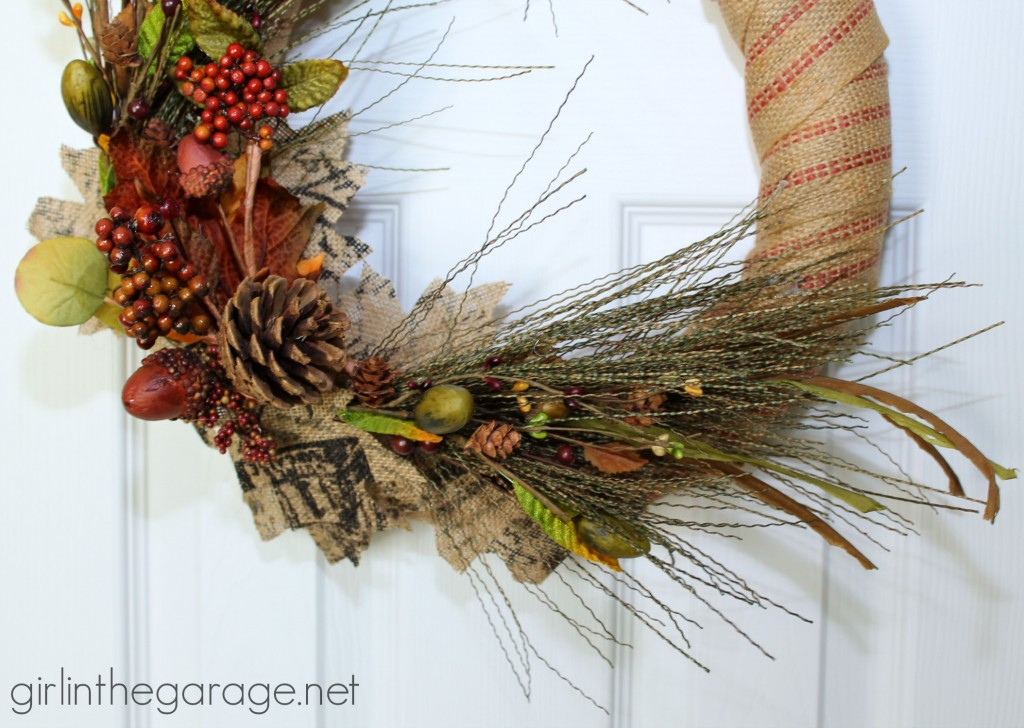 How to make a DIY fall wreath with burlap and nature-inspired sprigs.  girlinthegarage.net