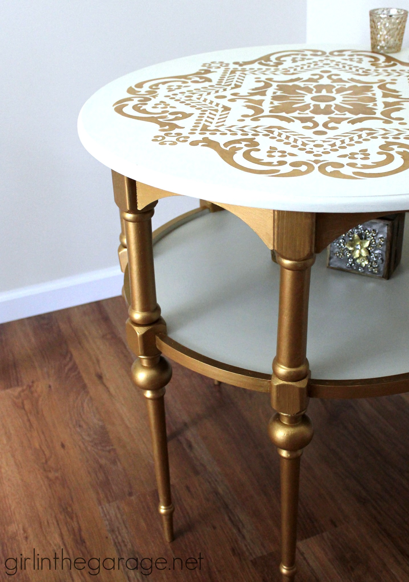 Gold And White Stenciled Table Themed Makeover Girl In The Garage